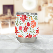 Load image into Gallery viewer, Red Flower Burst Pattern Stemless Wine Tumbler
