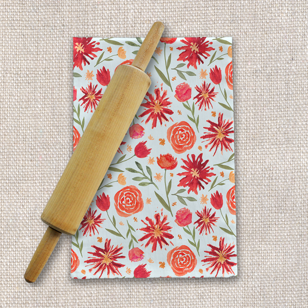 Red Flower Burst Pattern Tea Towel