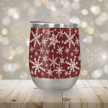 Load image into Gallery viewer, Red Snowflakes Stemless Wine Tumbler