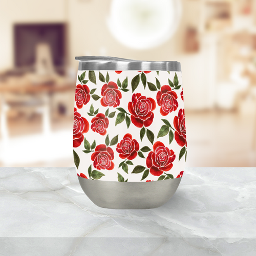 Rose Watercolor Stemless Wine Tumbler