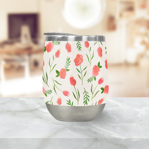 Spring Watercolor Stemless Wine Tumblers