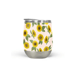 Sunflower Watercolor Pattern Stemless Wine Tumbler