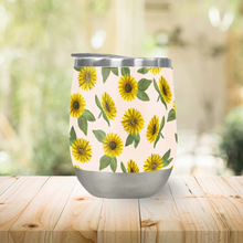 Load image into Gallery viewer, Sunflower Watercolor Pattern Stemless Wine Tumbler