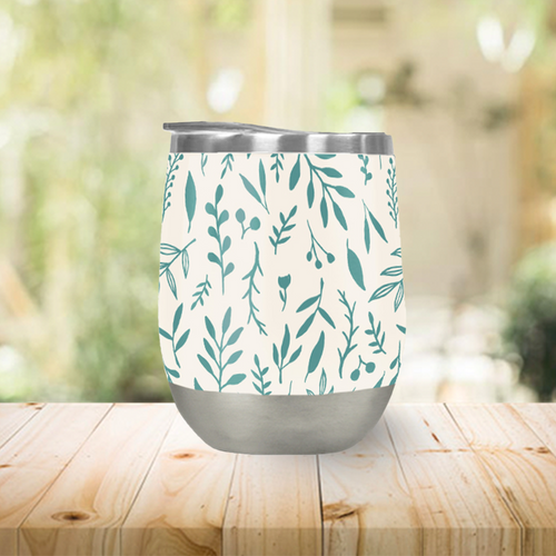 Teal Falling Leaves Stemless Wine Tumblers