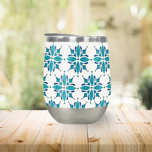 Teal Watercolor Tile Stemless Wine Tumbler