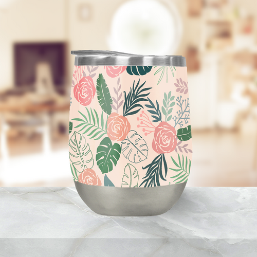 Tropical Floral Stemless Wine Tumbler