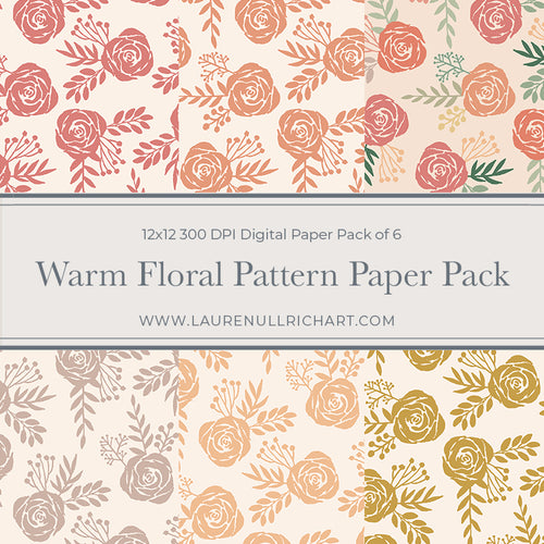 Warm Floral Pattern Digital Paper Pack
