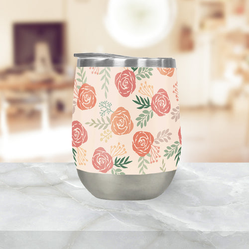 Warm Floral Pattern Stemless Wine Tumblers