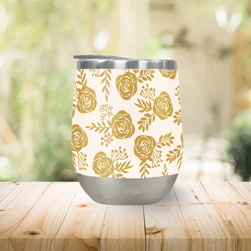 Warm Gold Floral Stemless Wine Tumblers