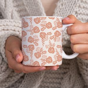 Warm Orange Floral Pattern - Mug