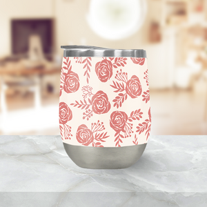 Warm Pink Floral Stemless Wine Tumblers