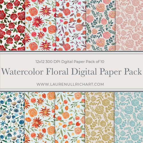 Watercolor Floral Digital Paper Pack