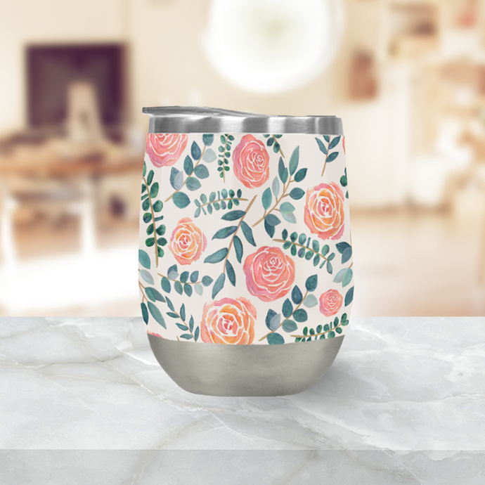 Watercolor Floral Pattern Stemless Wine Tumbler