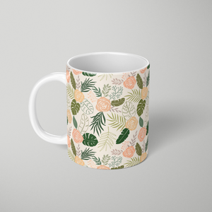 Yellow and Green Tropical Floral Patten - Mug