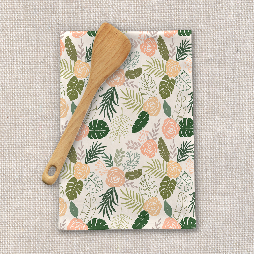 Yellow and Green Tropical Floral Tea Towel