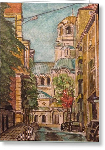 Alexander Nevsky Cathedral From Alley - Greeting Card