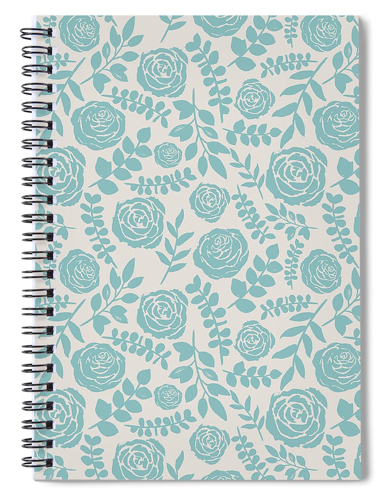 Baby Blue Floral Pattern - Spiral Notebook