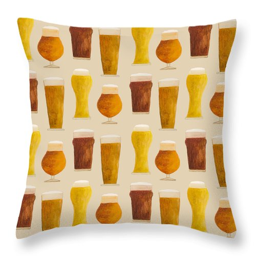 Beer Pattern - Throw Pillow