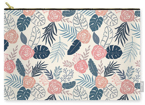 Blue and Blush Tropical Floral Pattern - Carry-All Pouch