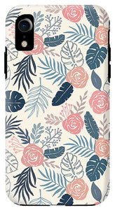 Blue and Blush Tropical Floral Pattern - Phone Case