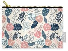 Load image into Gallery viewer, Blue and Blush Tropical Floral Pattern - Carry-All Pouch