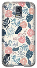 Load image into Gallery viewer, Blue and Blush Tropical Floral Pattern - Phone Case
