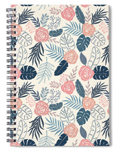 Load image into Gallery viewer, Blue and Blush Tropical Floral Pattern - Spiral Notebook