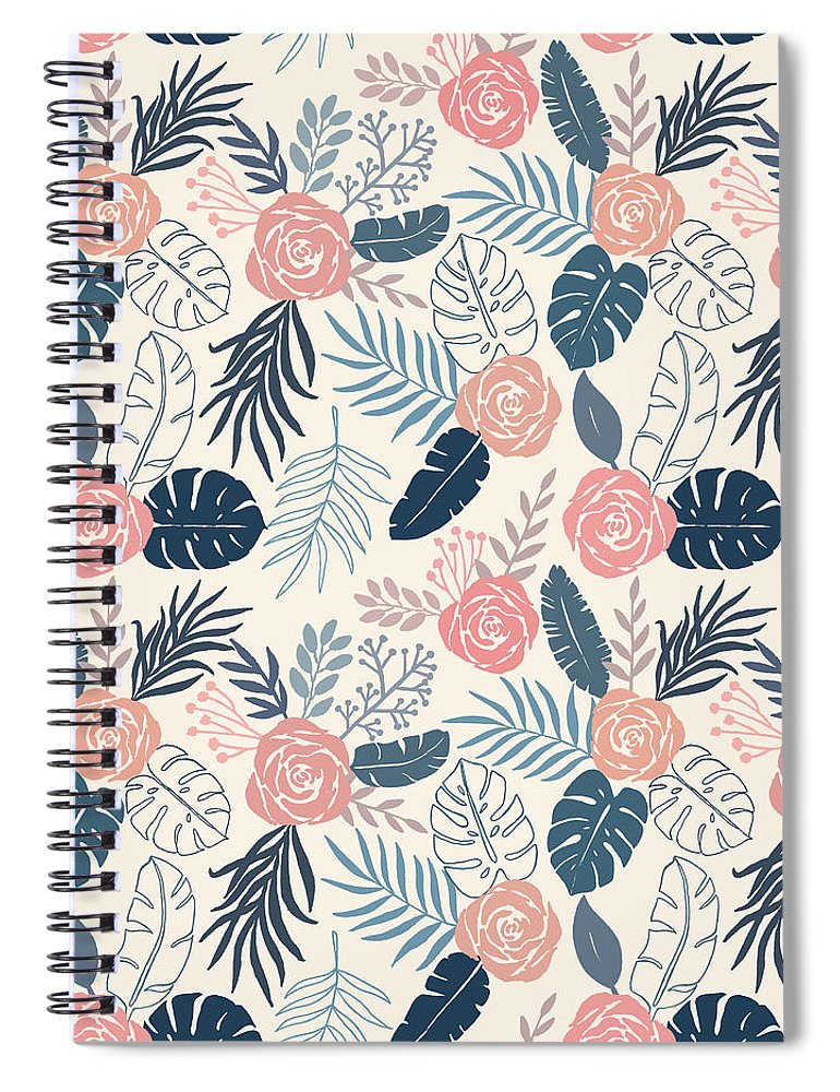 Blue and Blush Tropical Floral Pattern - Spiral Notebook