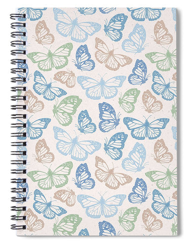 Blue Butterfly Pattern - Spiral Notebook