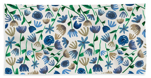 Blue Floral Pattern 2 - Beach Towel