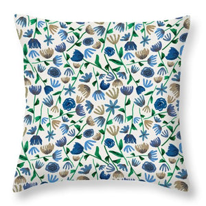 Blue Floral Pattern 2 - Throw Pillow