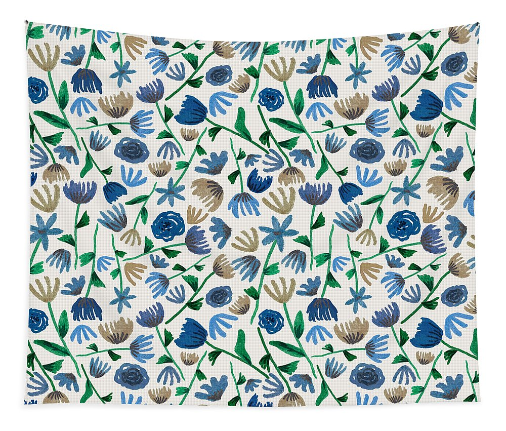Blue Floral Pattern 2 - Tapestry