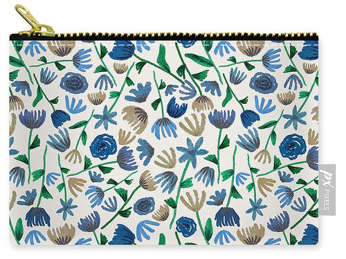 Blue Floral Pattern 2 - Carry-All Pouch