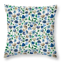 Load image into Gallery viewer, Blue Floral Pattern 2 - Throw Pillow