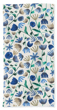 Load image into Gallery viewer, Blue Floral Pattern - Beach Towel