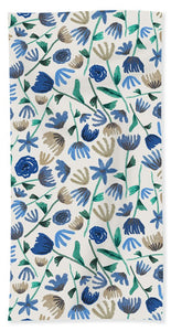 Blue Floral Pattern - Beach Towel