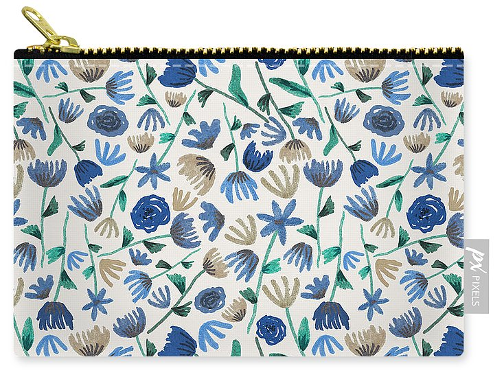 Blue Floral Pattern - Carry-All Pouch