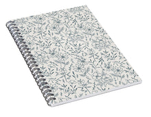Load image into Gallery viewer, Blue Gray Flower Pattern - Spiral Notebook