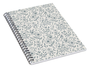 Blue Gray Flower Pattern - Spiral Notebook
