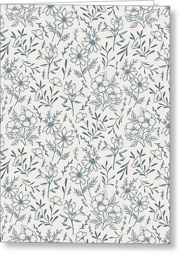 Blue Gray Flower Pattern - Greeting Card