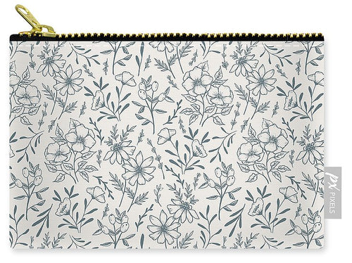 Blue Gray Flower Pattern - Carry-All Pouch