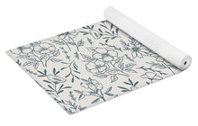 Load image into Gallery viewer, Blue Gray Flower Pattern - Yoga Mat