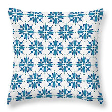 Load image into Gallery viewer, Blue Watercolor Tile Pattern - Throw Pillow