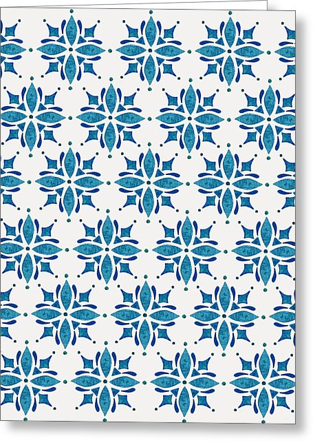Blue Watercolor Tile Pattern - Greeting Card