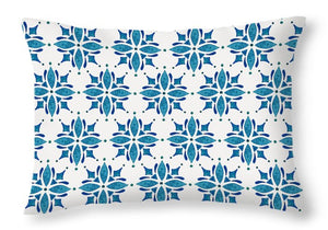 Blue Watercolor Tile Pattern - Throw Pillow