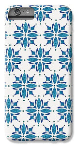 Blue Watercolor Tile Pattern - Phone Case