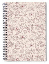 Load image into Gallery viewer, Burgundy Magnolia Pattern - Spiral Notebook