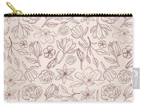 Burgundy Magnolia Pattern - Carry-All Pouch
