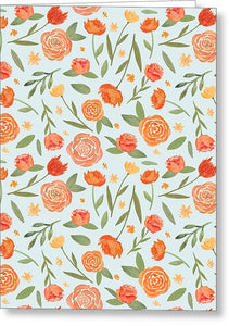 Burnt Orange Floral Pattern - Greeting Card
