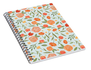 Burnt Orange Floral Pattern - Spiral Notebook